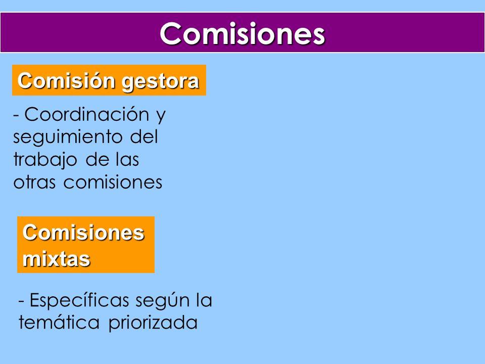 Comisiones Comisión gestora Comisionesmixtas - Coordinación y seguimiento del trabajo de las otras comisiones - Específicas según la temática priorizada