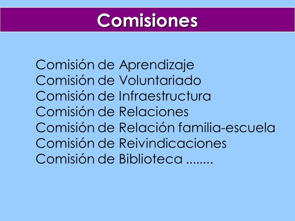 Comisiones Comisión de Aprendizaje Comisión de Voluntariado Comisión de Infraestructura Comisión de Relaciones Comisión de Relación familia-escuela Comisión de Reivindicaciones Comisión de Biblioteca........