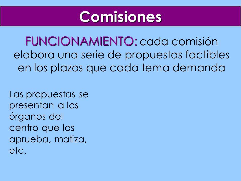 Comisiones FUNCIONAMIENTO: FUNCIONAMIENTO: cada comisión elabora una serie de propuestas factibles en los plazos que cada tema demanda Las propuestas se presentan a los órganos del centro que las aprueba, matiza, etc.