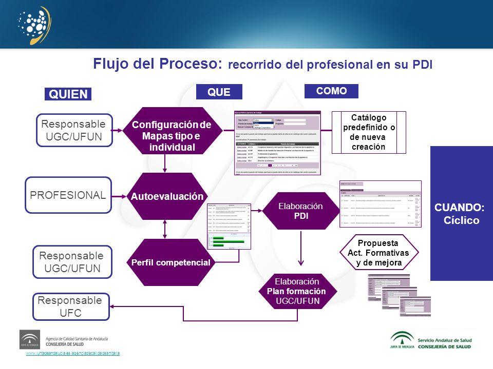 www.juntadeandalucia.es/agenciadecalidadsanitaria Flujo del Proceso: recorrido del profesional en su PDI CUANDO: Cíclico Responsable UGC/UFUN PROFESIO
