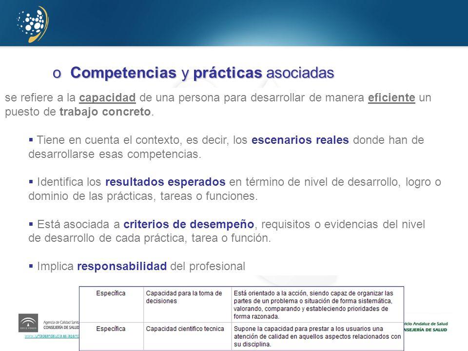 www.juntadeandalucia.es/agenciadecalidadsanitaria oCompetencias y prácticas asociadas oNivel de aplicación de cada buena práctica: imprescindible/dese