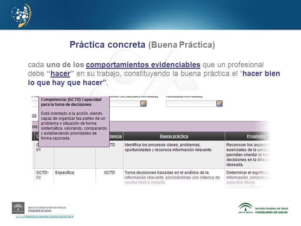 www.juntadeandalucia.es/agenciadecalidadsanitaria Práctica concreta (Buena Práctica) cada uno de los comportamientos evidenciables que un profesional
