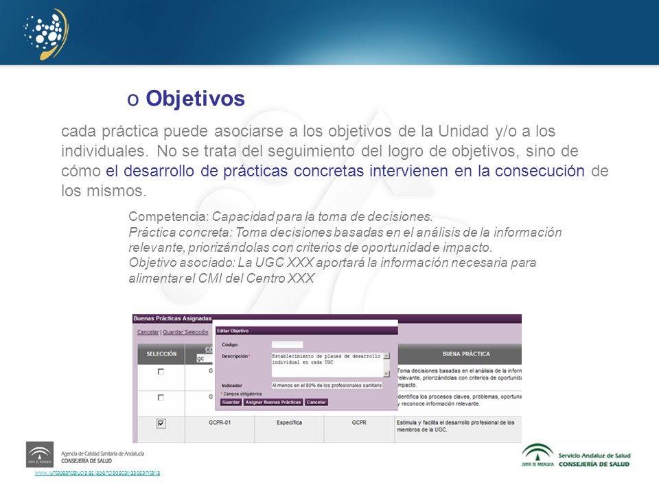 www.juntadeandalucia.es/agenciadecalidadsanitaria o Objetivos cada práctica puede asociarse a los objetivos de la Unidad y/o a los individuales. No se
