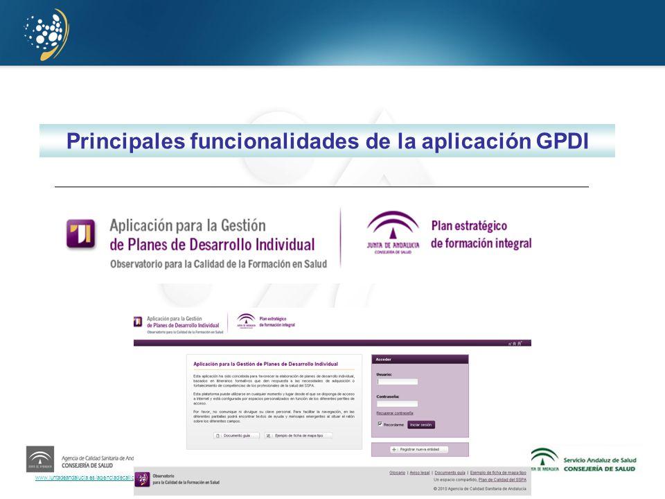 Principales funcionalidades de la aplicación GPDI