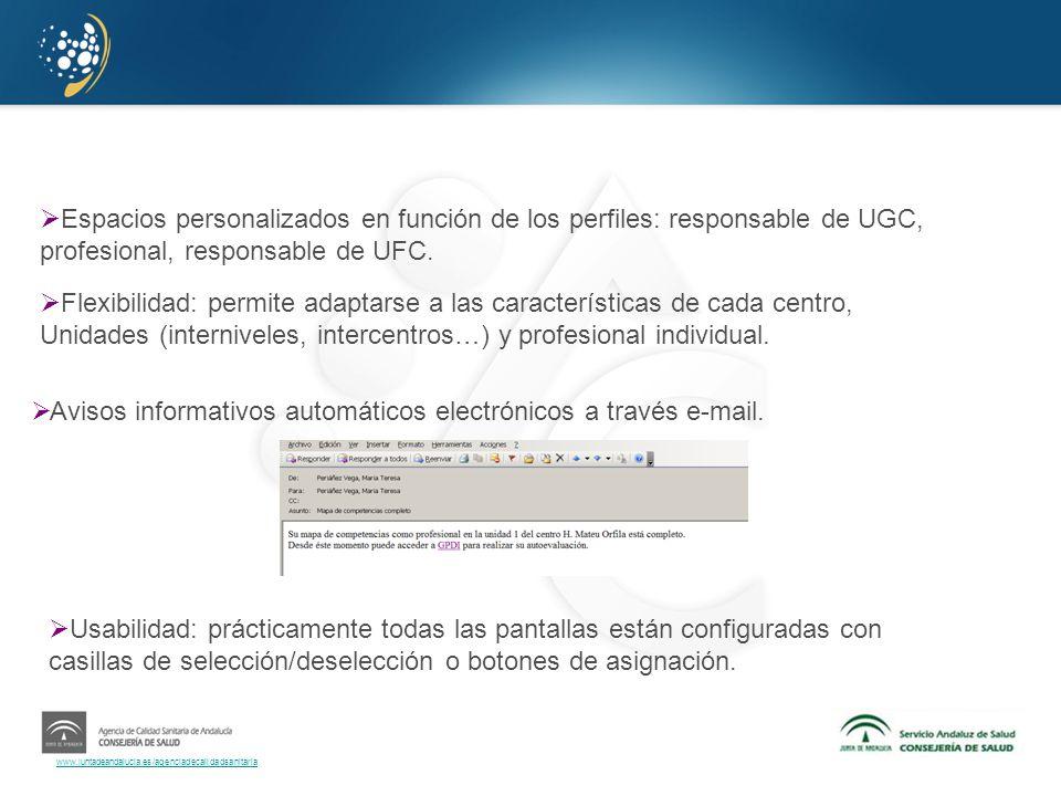 www.juntadeandalucia.es/agenciadecalidadsanitaria Espacios personalizados en función de los perfiles: responsable de UGC, profesional, responsable de
