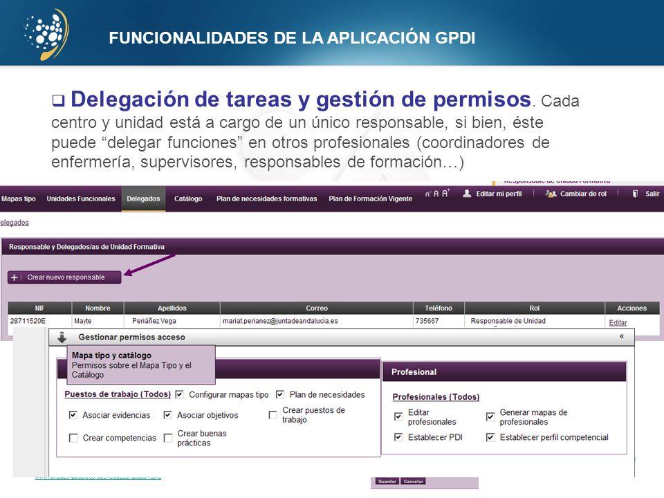 www.juntadeandalucia.es/agenciadecalidadsanitaria FUNCIONALIDADES DE LA APLICACIÓN GPDI Delegación de tareas y gestión de permisos. Cada centro y unid