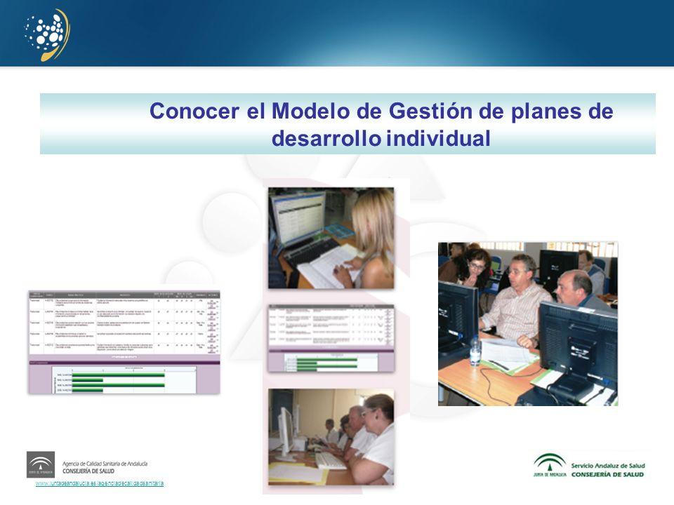 www.juntadeandalucia.es/agenciadecalidadsanitaria Conocer el Modelo de Gestión de planes de desarrollo individual