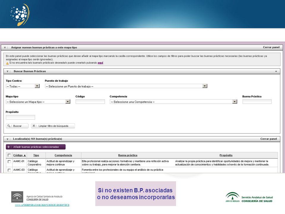 www.juntadeandalucia.es/agenciadecalidadsanitaria Si no existen B.P. asociadas o no deseamos incorporarlas