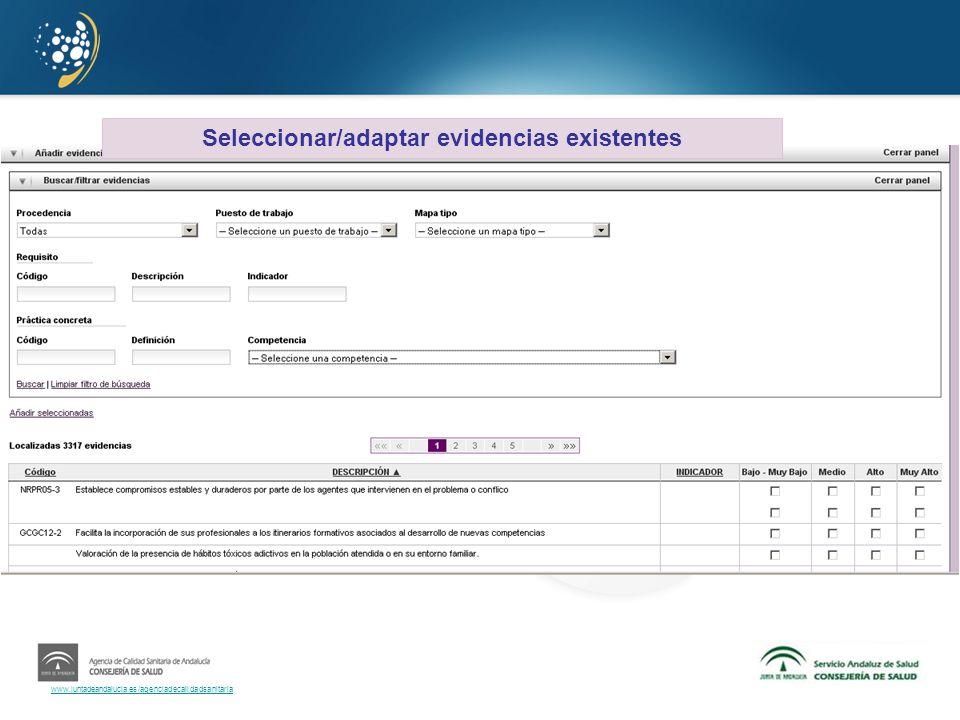 Seleccionar/adaptar evidencias existentes