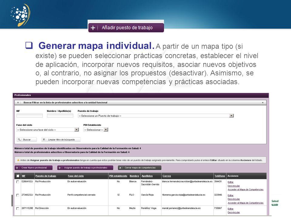 Generar mapa individual. A partir de un mapa tipo (si existe) se pueden seleccionar prácticas concretas, establecer el nivel de aplicación, incorporar
