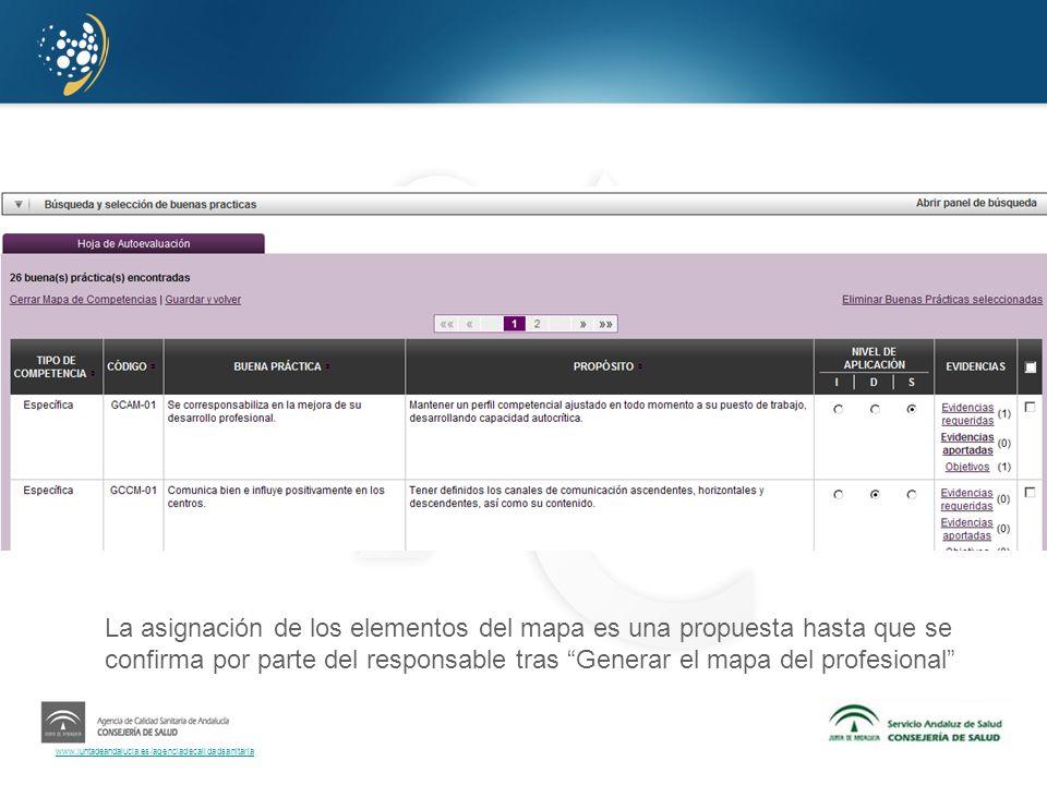 www.juntadeandalucia.es/agenciadecalidadsanitaria La asignación de los elementos del mapa es una propuesta hasta que se confirma por parte del respons