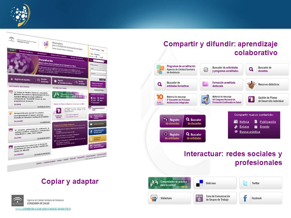 www.juntadeandalucia.es/agenciadecalidadsanitaria Compartir y difundir: aprendizaje colaborativo Interactuar: redes sociales y profesionales Copiar y