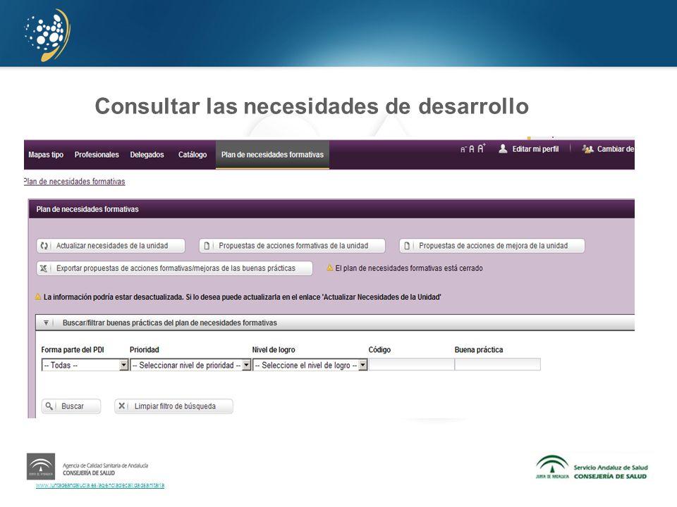 www.juntadeandalucia.es/agenciadecalidadsanitaria Consultar las necesidades de desarrollo