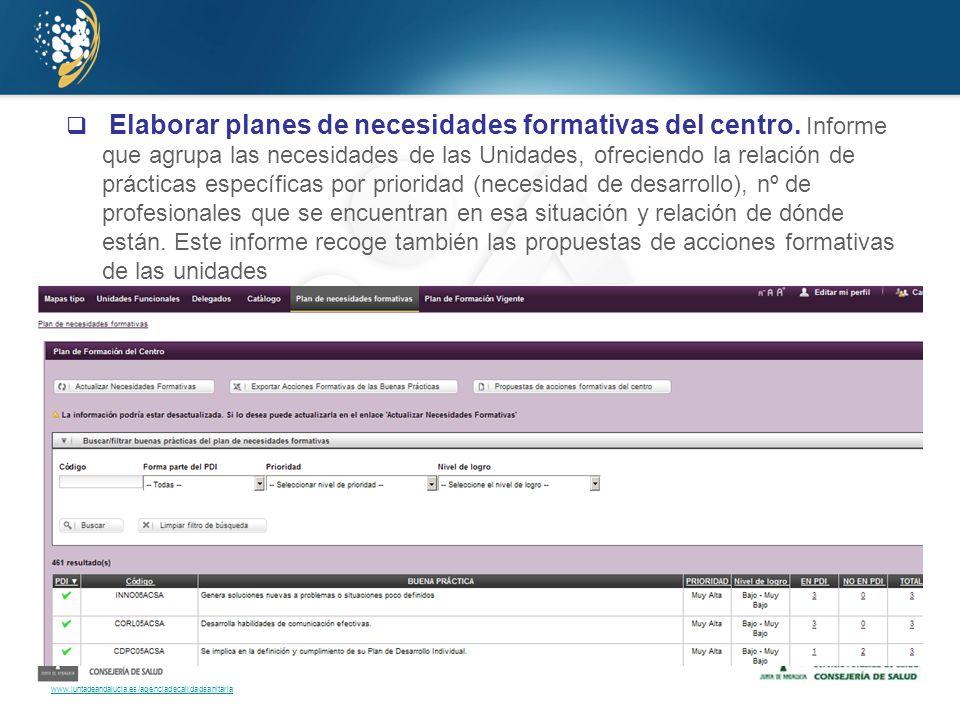 www.juntadeandalucia.es/agenciadecalidadsanitaria Elaborar planes de necesidades formativas del centro. Informe que agrupa las necesidades de las Unid