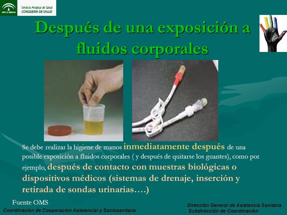 Después de una exposición a fluidos corporales Coordinación de Cooperación Asistencial y Sociosanitaria Dirección General de Asistencia Sanitaria Subd