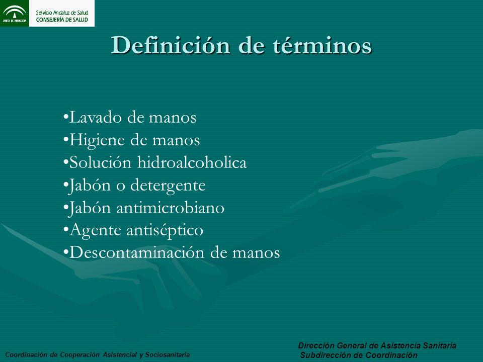Definición de términos Coordinación de Cooperación Asistencial y Sociosanitaria Dirección General de Asistencia Sanitaria Subdirección de Coordinación