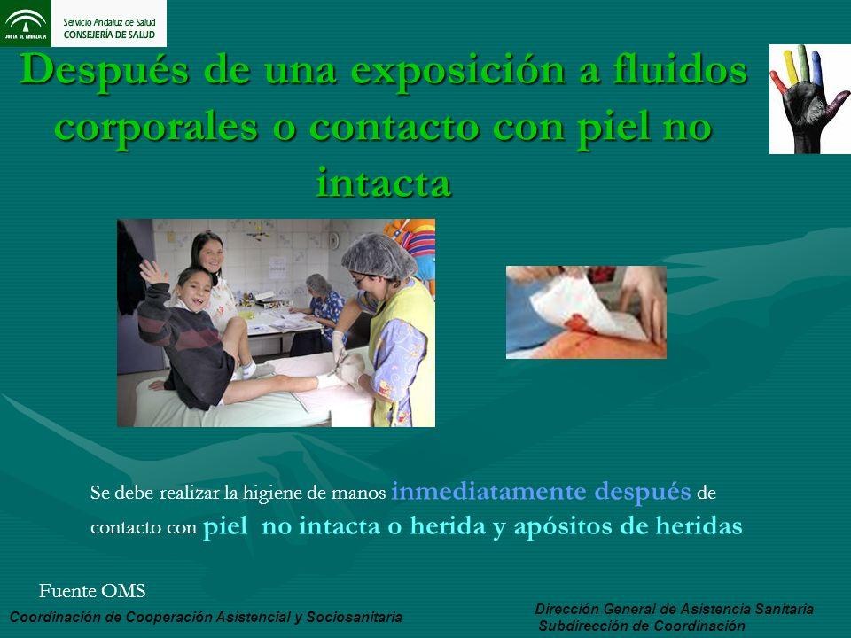 Después de una exposición a fluidos corporales o contacto con piel no intacta Dirección General de Asistencia Sanitaria Subdirección de Coordinación C
