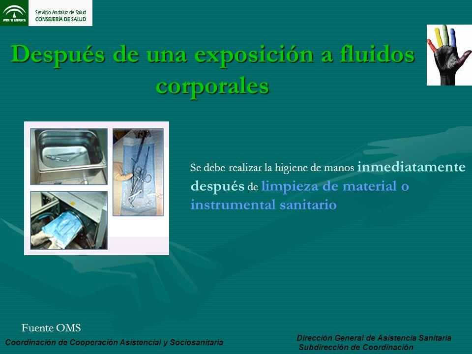 Después de una exposición a fluidos corporales Dirección General de Asistencia Sanitaria Subdirección de Coordinación Coordinación de Cooperación Asis