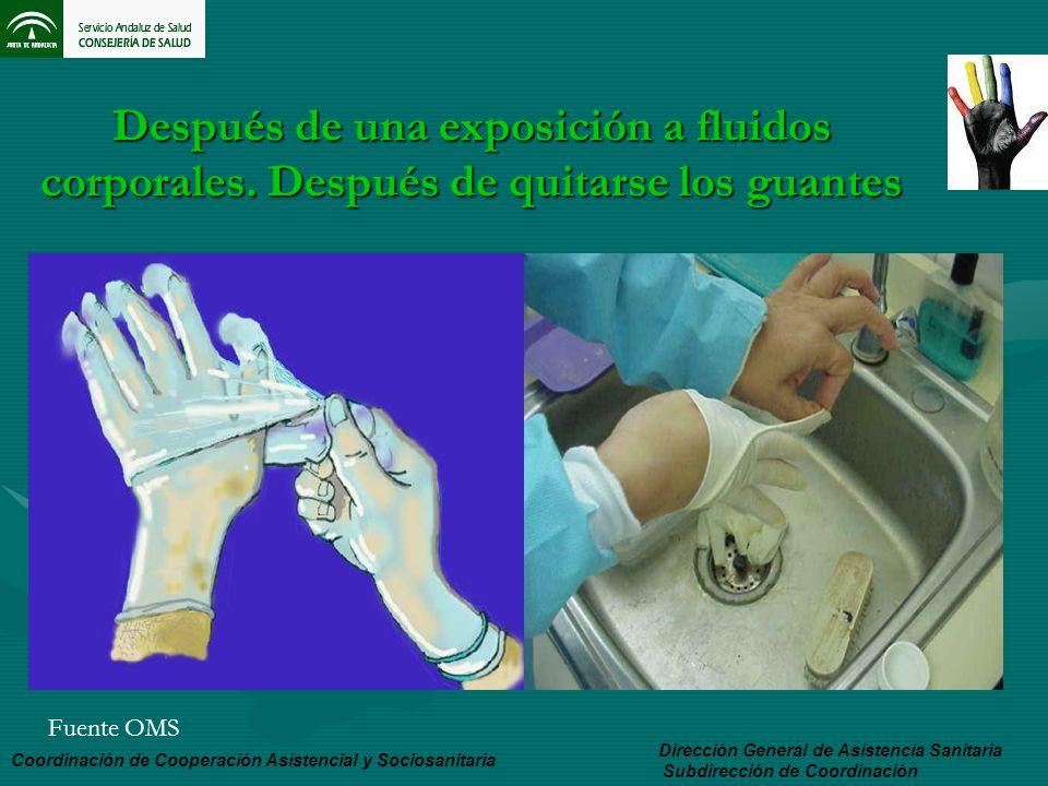 Después de una exposición a fluidos corporales. Después de quitarse los guantes Dirección General de Asistencia Sanitaria Subdirección de Coordinación