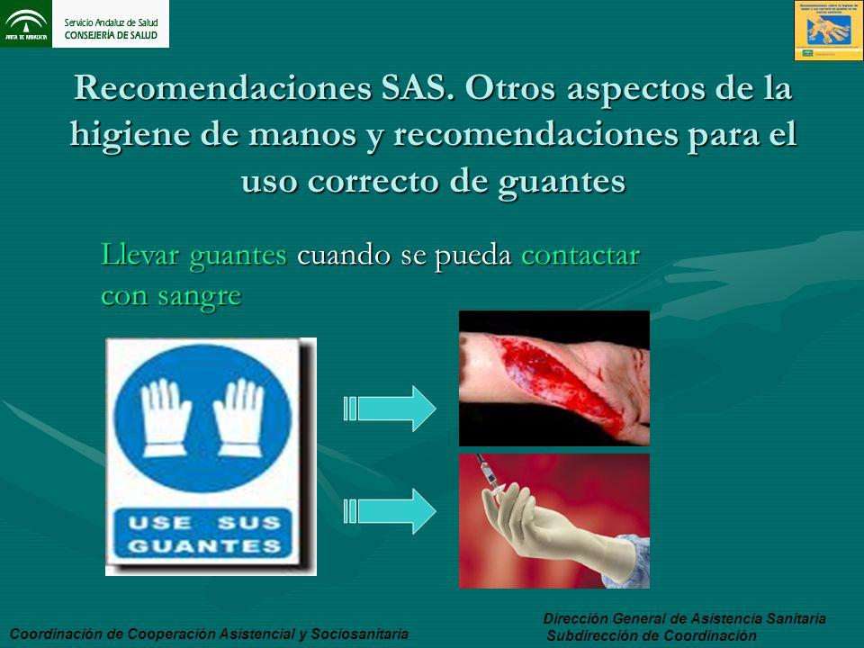 Recomendaciones SAS. Otros aspectos de la higiene de manos y recomendaciones para el uso correcto de guantes Dirección General de Asistencia Sanitaria