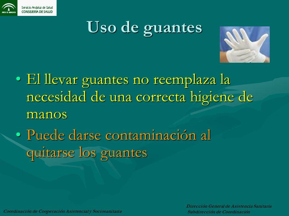Uso de guantes El llevar guantes no reemplaza la necesidad de una correcta higiene de manosEl llevar guantes no reemplaza la necesidad de una correcta