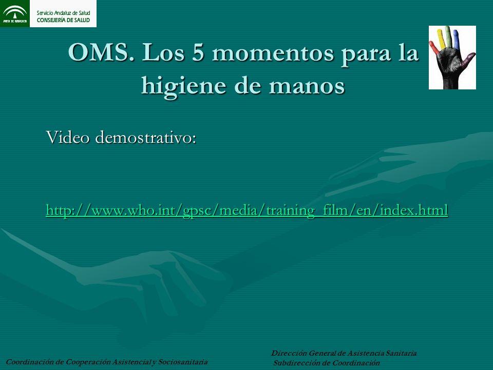 OMS. Los 5 momentos para la higiene de manos Video demostrativo: http://www.who.int/gpsc/media/training_film/en/index.html Coordinación de Cooperación