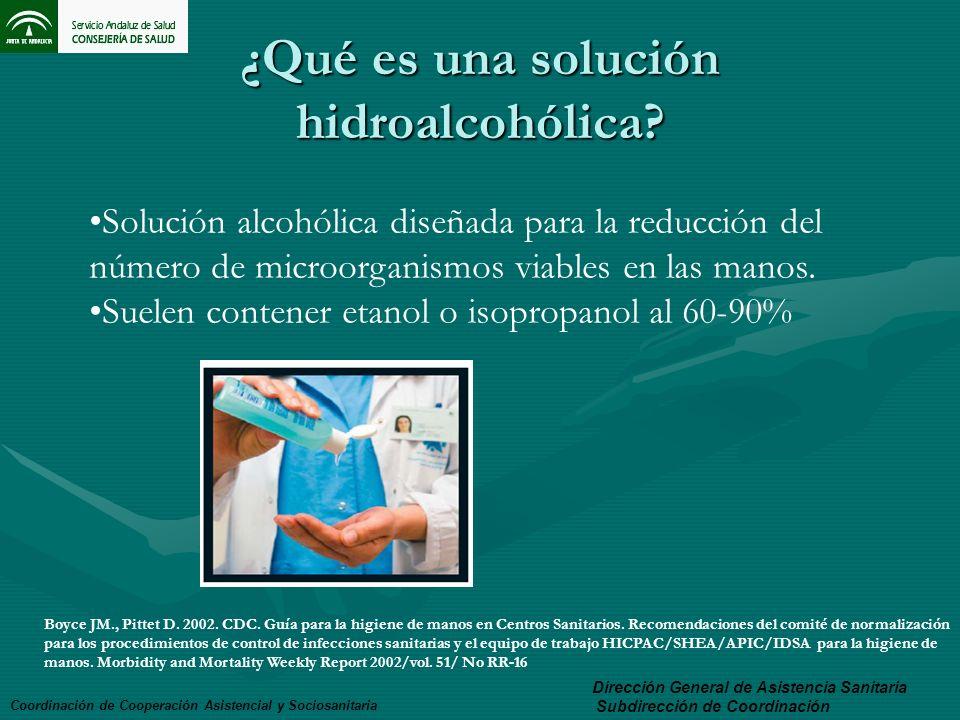 ¿Qué es una solución hidroalcohólica? Coordinación de Cooperación Asistencial y Sociosanitaria Dirección General de Asistencia Sanitaria Subdirección