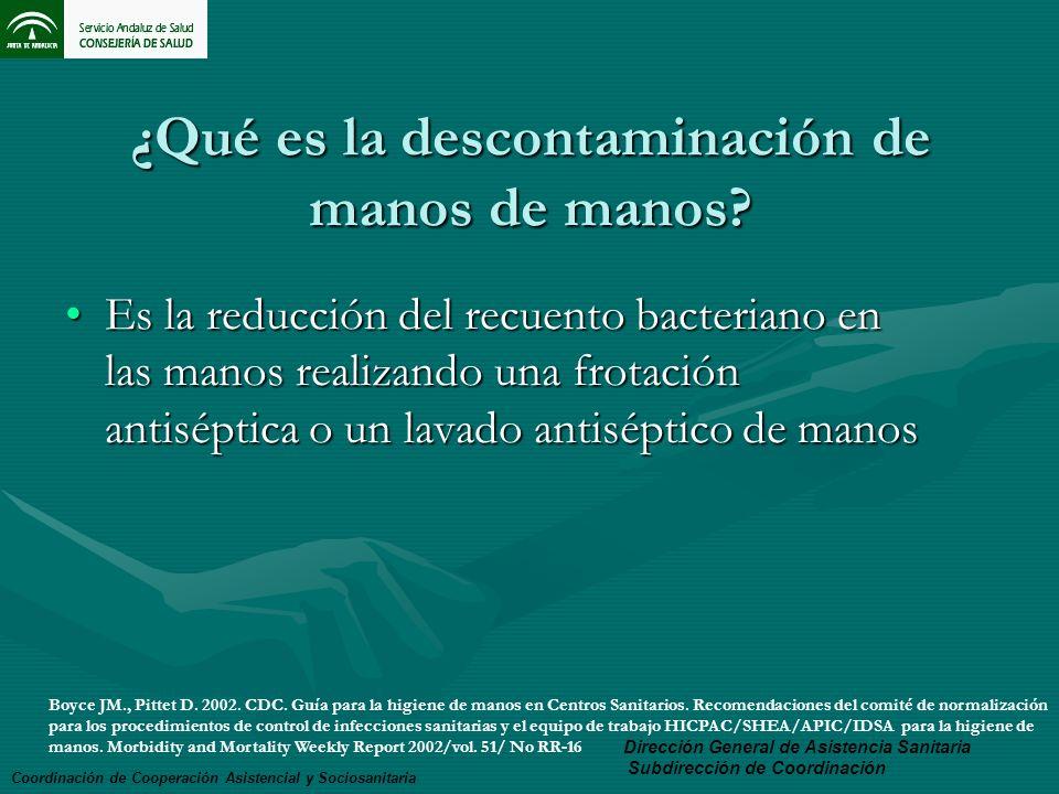 ¿Qué es la descontaminación de manos de manos? Es la reducción del recuento bacteriano en las manos realizando una frotación antiséptica o un lavado a