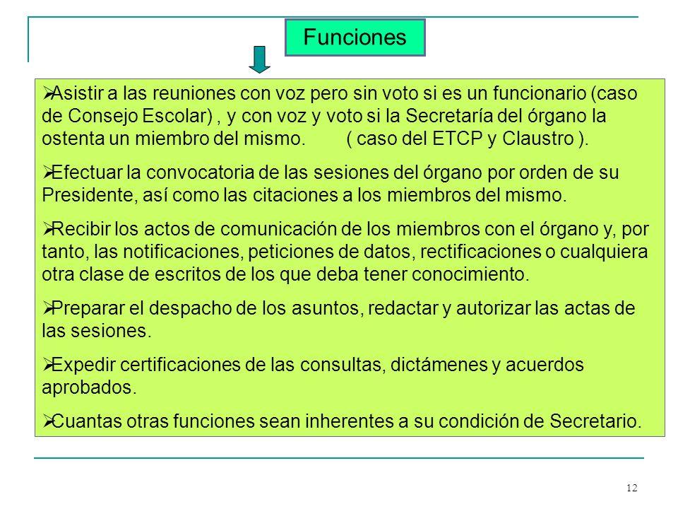 12 Funciones Asistir a las reuniones con voz pero sin voto si es un funcionario (caso de Consejo Escolar), y con voz y voto si la Secretaría del órgan