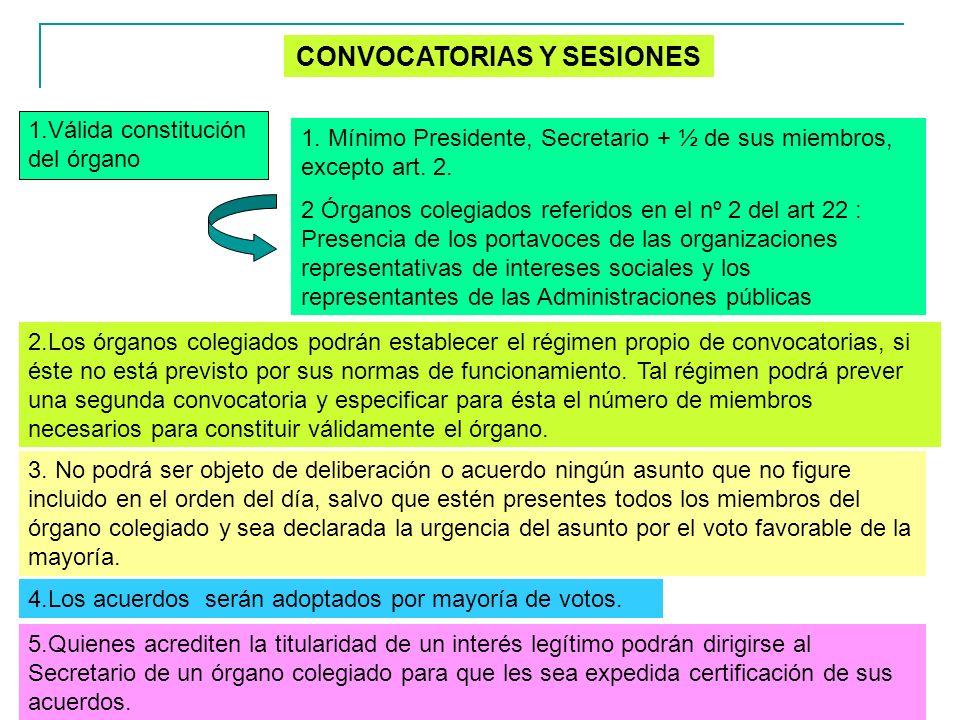 13 CONVOCATORIAS Y SESIONES 1.Válida constitución del órgano 1. Mínimo Presidente, Secretario + ½ de sus miembros, excepto art. 2. 2 Órganos colegiado