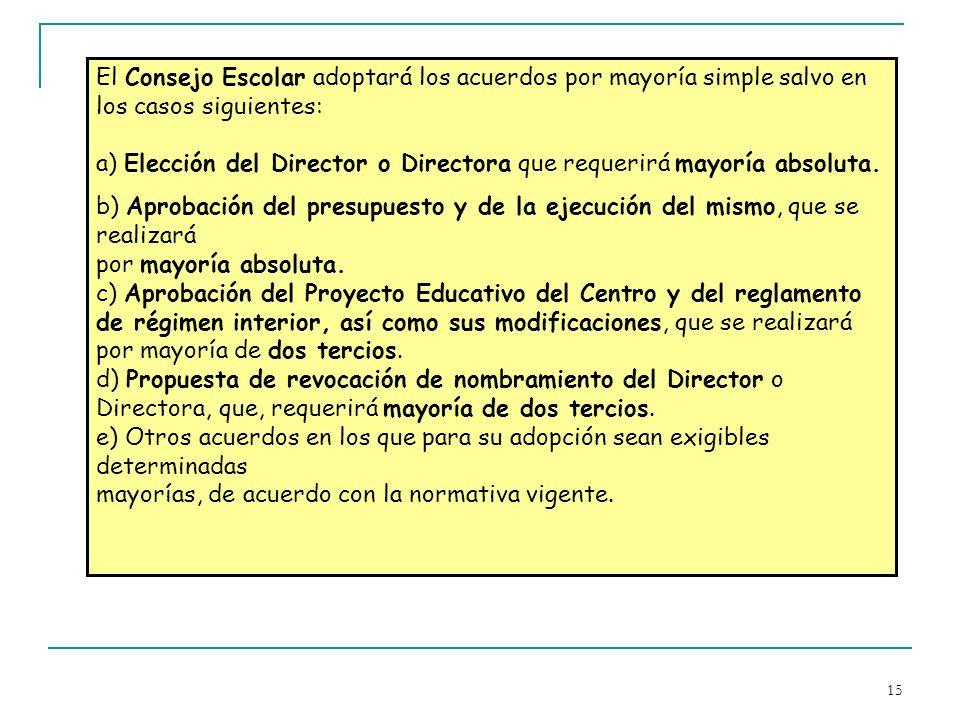 15 El Consejo Escolar adoptará los acuerdos por mayoría simple salvo en los casos siguientes: a) Elección del Director o Directora que requerirá mayor