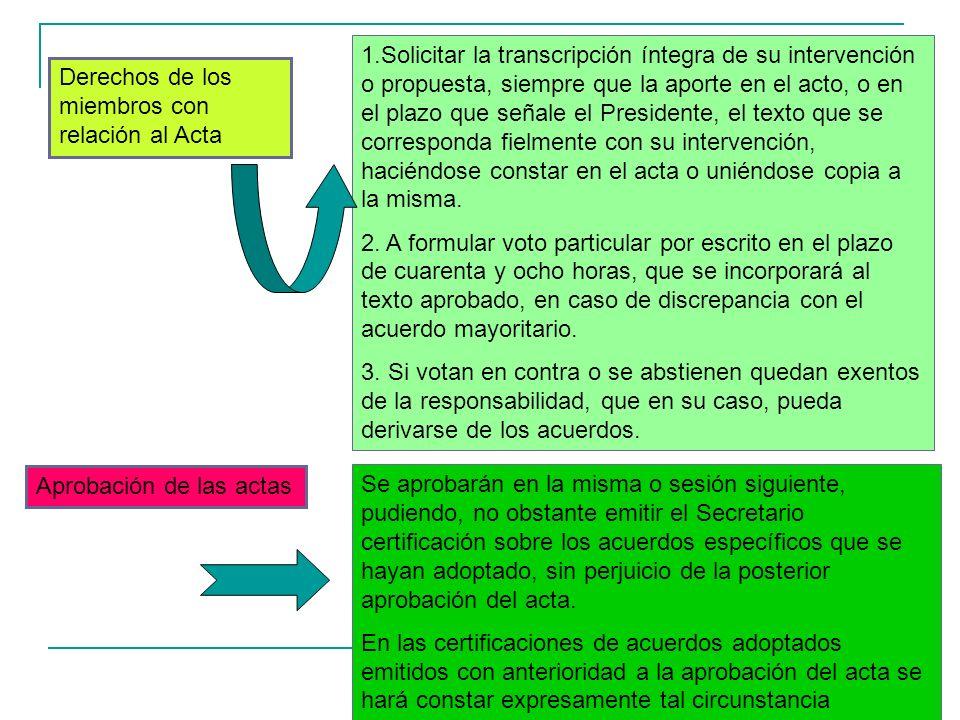 17 Derechos de los miembros con relación al Acta 1.Solicitar la transcripción íntegra de su intervención o propuesta, siempre que la aporte en el acto