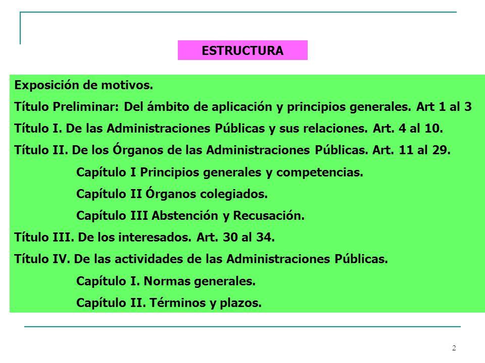 2 ESTRUCTURA Exposición de motivos. Título Preliminar: Del ámbito de aplicación y principios generales. Art 1 al 3 Título I. De las Administraciones P