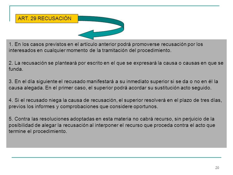 20 1. En los casos previstos en el artículo anterior podrá promoverse recusación por los interesados en cualquier momento de la tramitación del proced