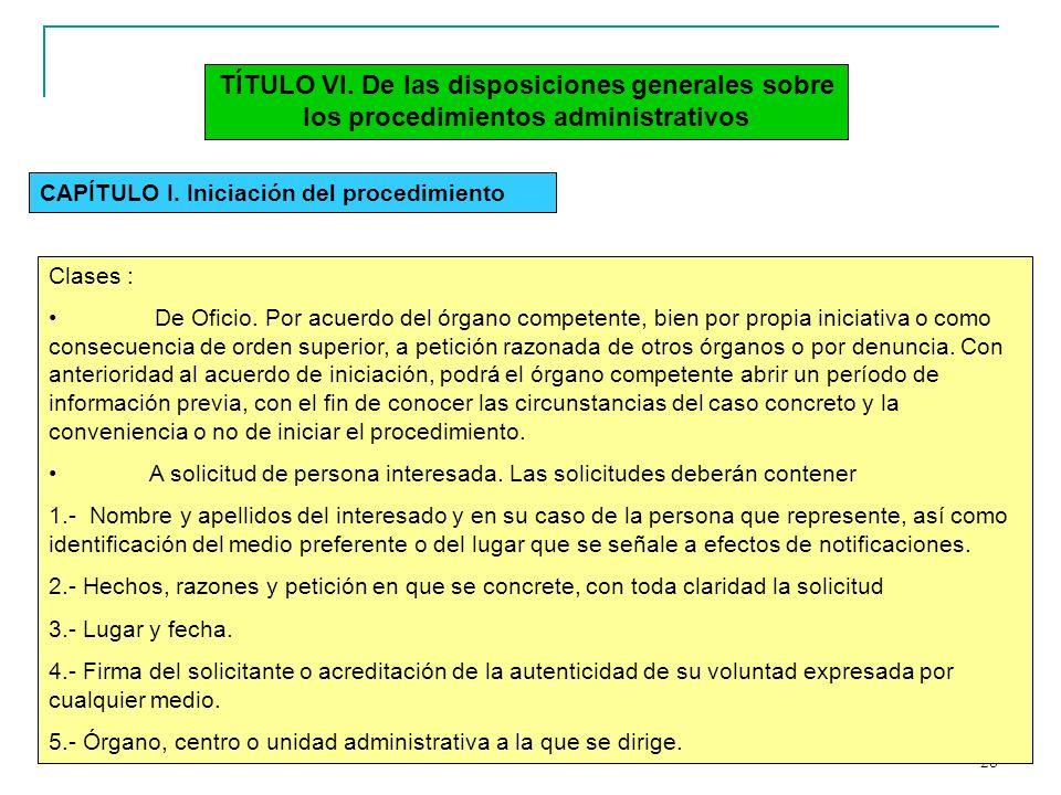 28 TÍTULO VI. De las disposiciones generales sobre los procedimientos administrativos CAPÍTULO I. Iniciación del procedimiento Clases : De Oficio. Por