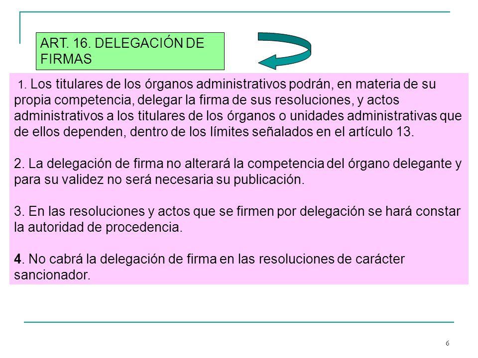 6 1. Los titulares de los órganos administrativos podrán, en materia de su propia competencia, delegar la firma de sus resoluciones, y actos administr