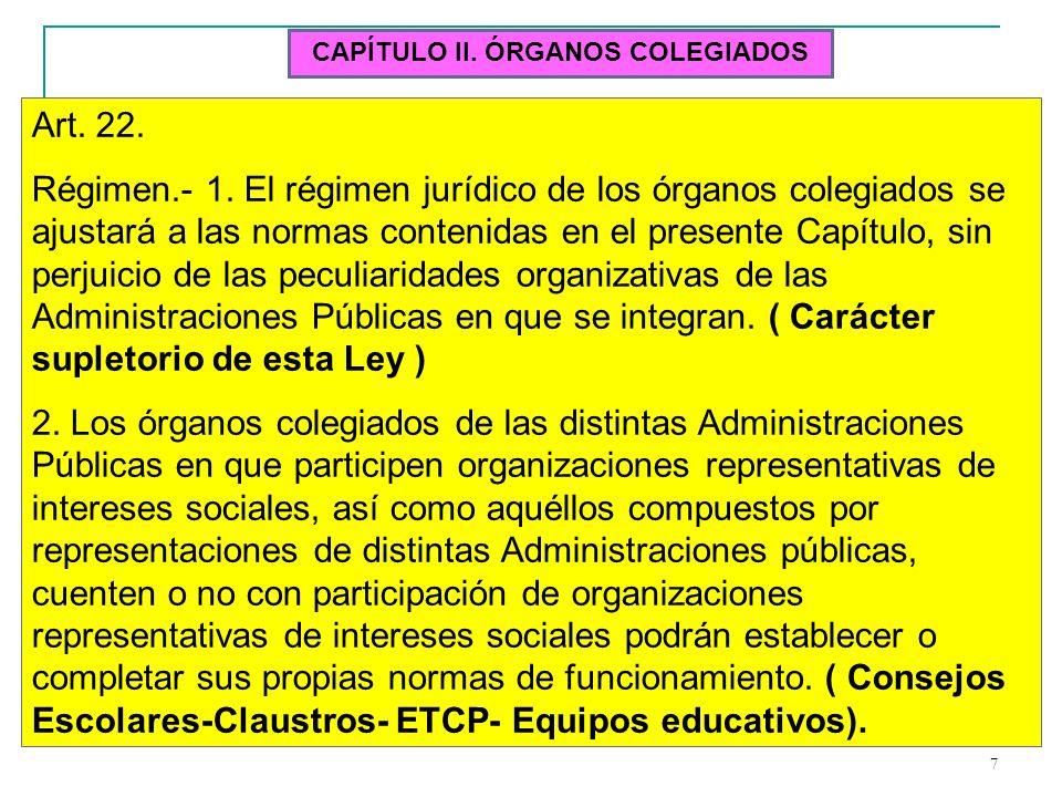 7 CAPÍTULO II. ÓRGANOS COLEGIADOS Art. 22. Régimen.- 1. El régimen jurídico de los órganos colegiados se ajustará a las normas contenidas en el presen