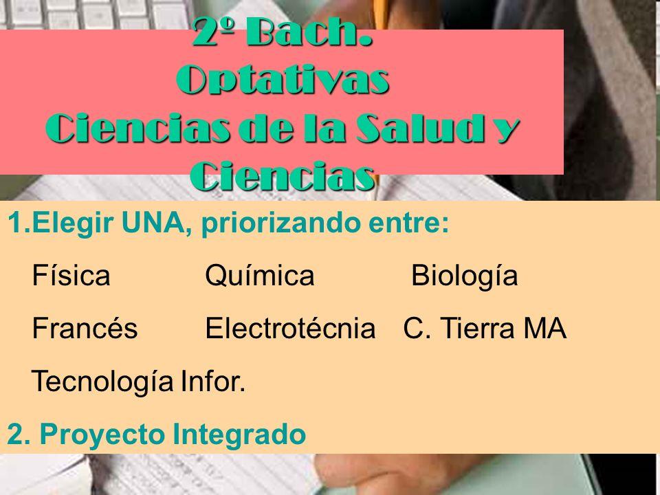2º Bach. Optativas Ciencias de la Salud y Ciencias 1.Elegir UNA, priorizando entre: FísicaQuímica Biología FrancésElectrotécniaC. Tierra MA Tecnología