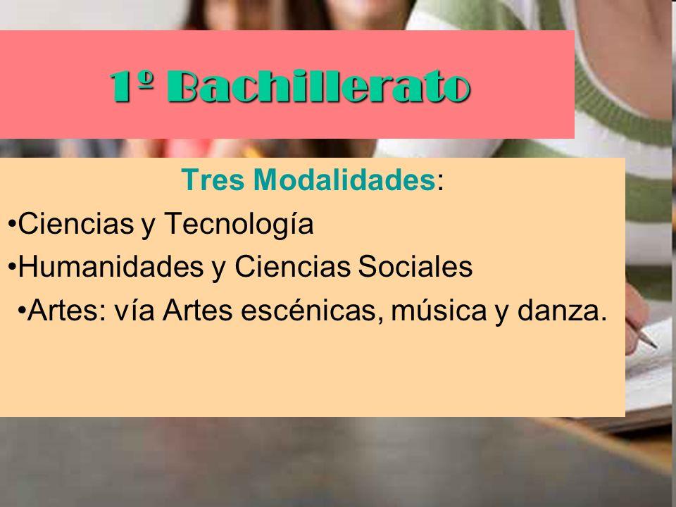 1º Bachillerato Tres Modalidades: Ciencias y Tecnología Humanidades y Ciencias Sociales Artes: vía Artes escénicas, música y danza.
