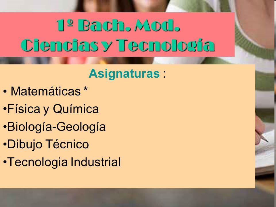 1º Bach. Mod. Ciencias y Tecnología Asignaturas : Matemáticas * Física y Química Biología-Geología Dibujo Técnico Tecnologia Industrial