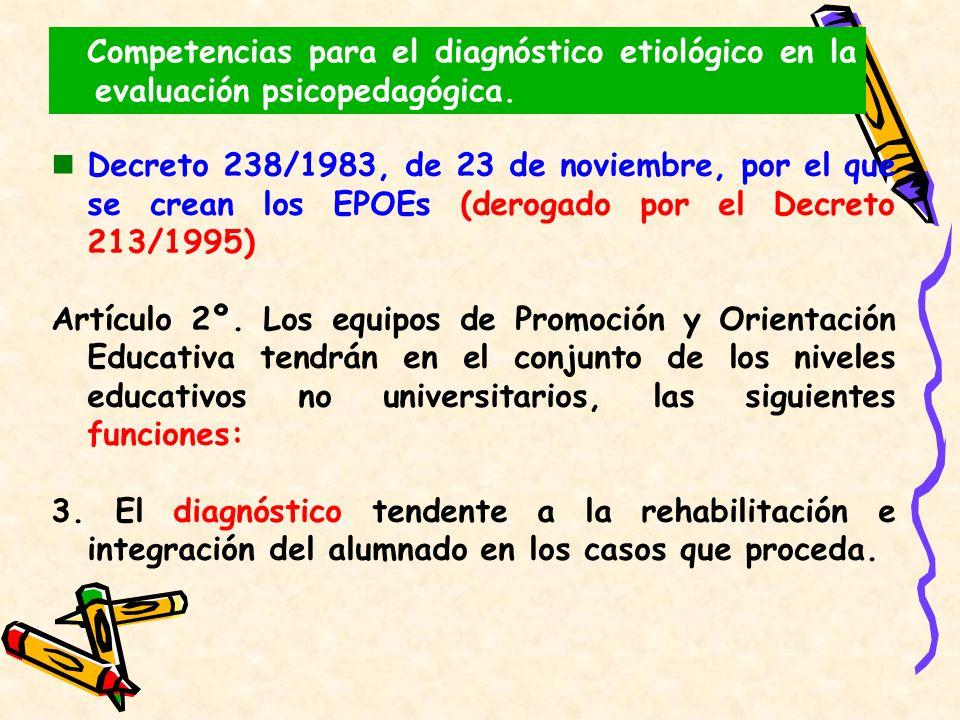 Decreto 238/1983, de 23 de noviembre, por el que se crean los EPOEs (derogado por el Decreto 213/1995) Artículo 2º. Los equipos de Promoción y Orienta
