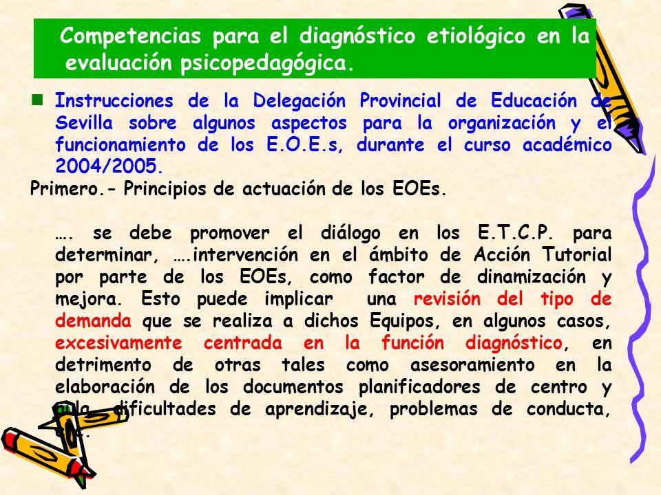Instrucciones de la Delegación Provincial de Educación de Sevilla sobre algunos aspectos para la organización y el funcionamiento de los E.O.E.s, dura