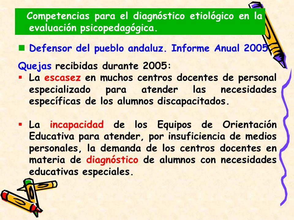 Defensor del pueblo andaluz. Informe Anual 2005 Quejas recibidas durante 2005: La escasez en muchos centros docentes de personal especializado para at