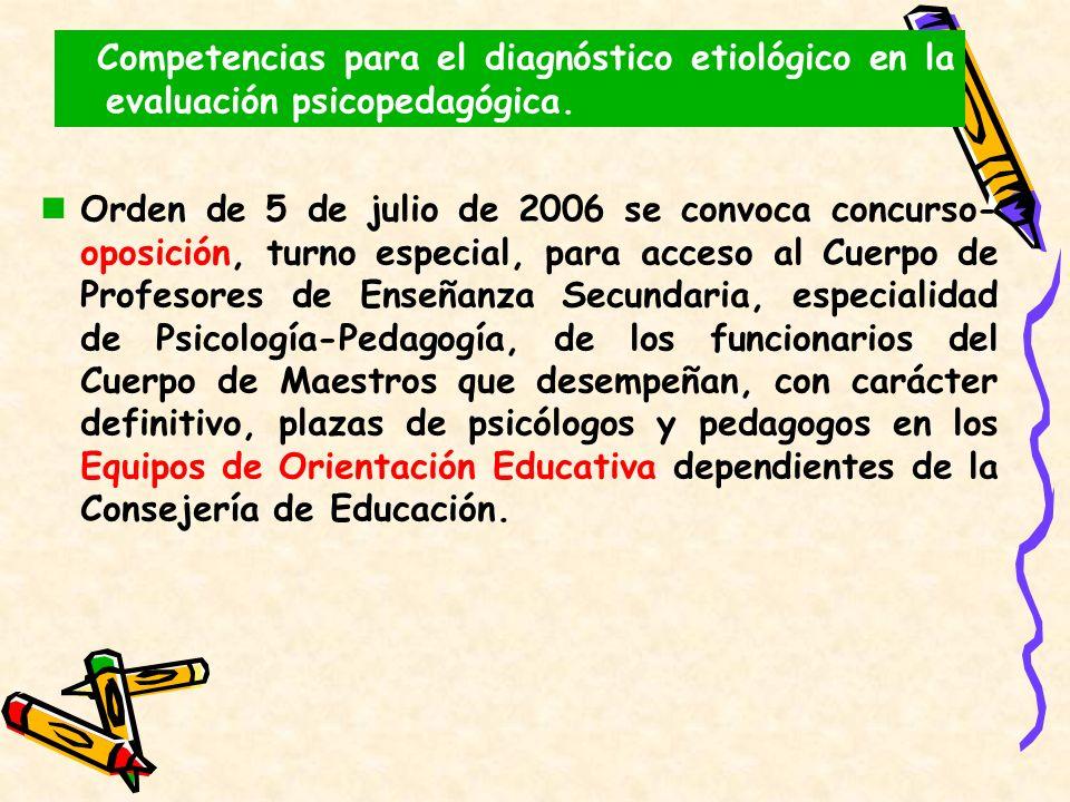 Competencias para el diagnóstico etiológico en la evaluación psicopedagógica. Orden de 5 de julio de 2006 se convoca concurso- oposición, turno especi