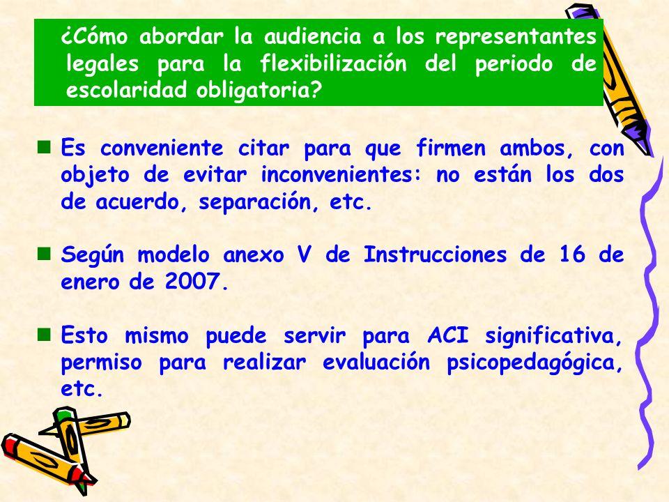 ¿Cómo abordar la audiencia a los representantes legales para la flexibilización del periodo de escolaridad obligatoria? Es conveniente citar para que