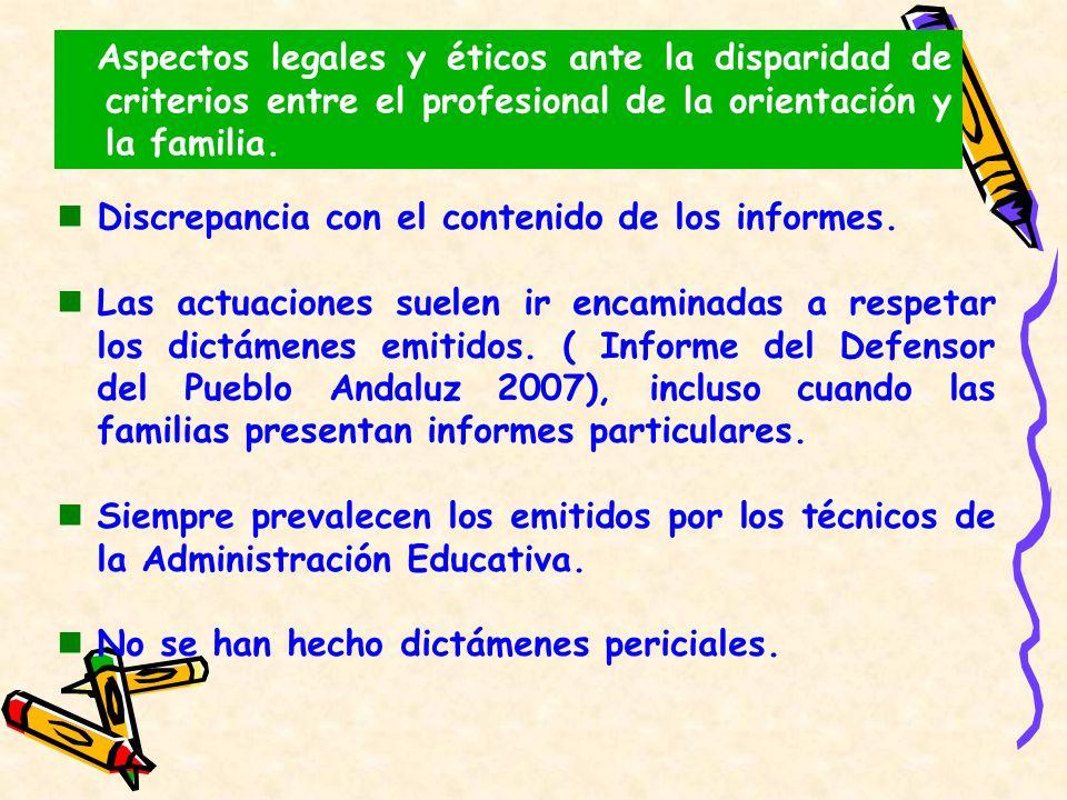 Aspectos legales y éticos ante la disparidad de criterios entre el profesional de la orientación y la familia. Discrepancia con el contenido de los in