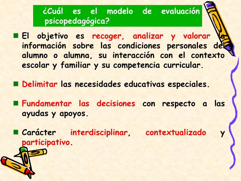 La evaluación psicopedagógica es un conjunto de actuaciones encaminadas a recoger, analizar y valorar la información sobre las condiciones personales del alumno o alumna, su interacción con el contexto escolar y familiar y su competencia curricular.