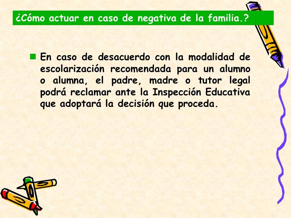 En caso de desacuerdo con la modalidad de escolarización recomendada para un alumno o alumna, el padre, madre o tutor legal podrá reclamar ante la Ins