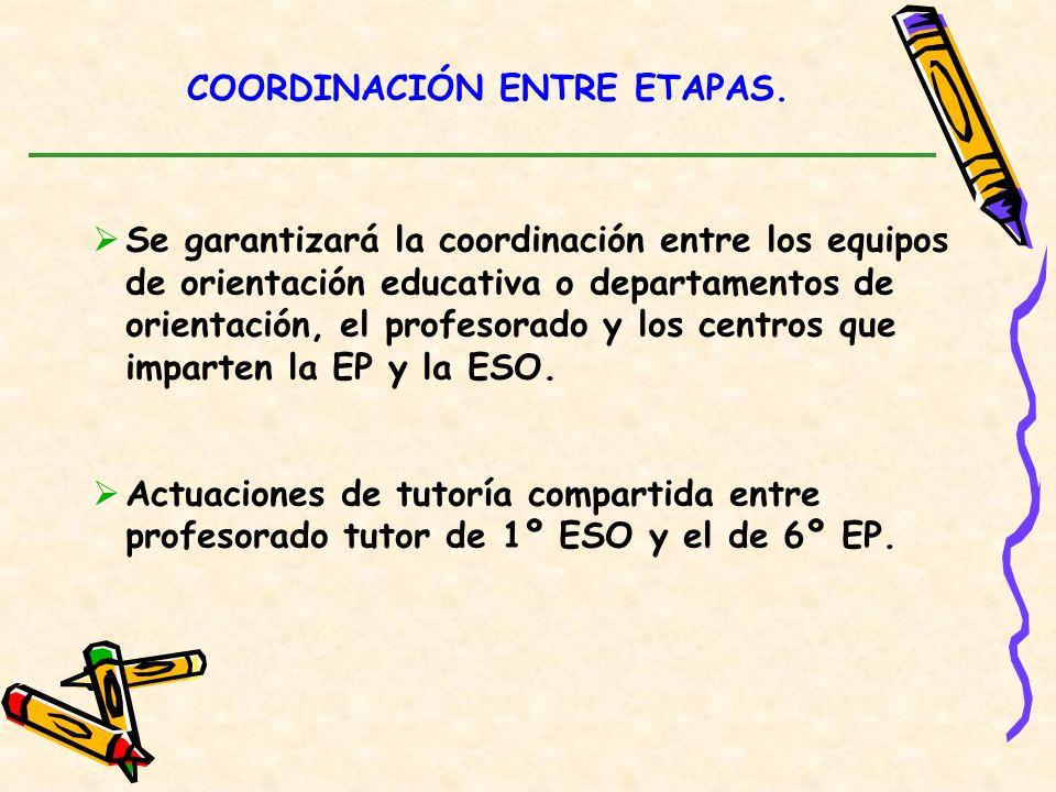 COORDINACIÓN ENTRE ETAPAS. Se garantizará la coordinación entre los equipos de orientación educativa o departamentos de orientación, el profesorado y