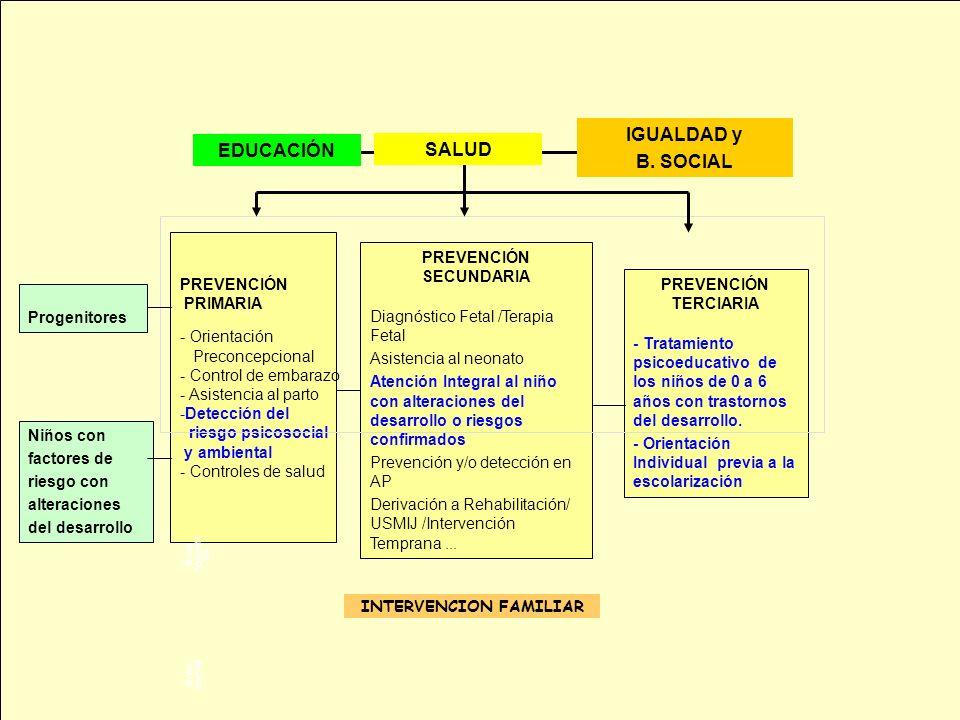 PREVENCIÓN PRIMARIA - Orientación Preconcepcional - Control de embarazo - Asistencia al parto -Detección del riesgo psicosocial y ambiental - Controle